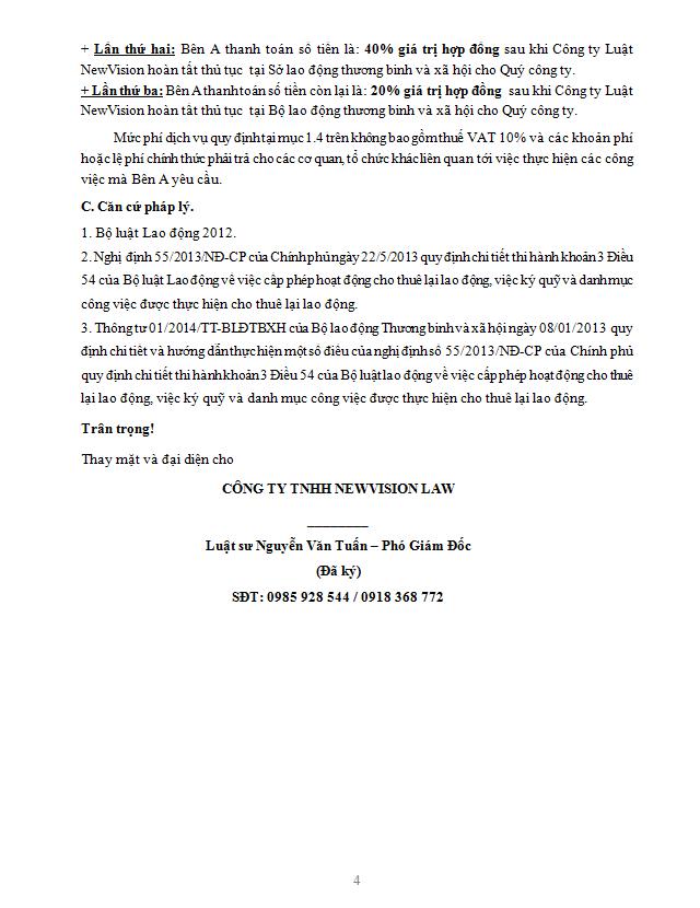 tư vấn cấp giấy phép cho thuê lại lao động