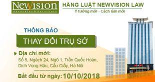 [THÔNG BÁO] Thay đổi địa chỉ trụ sở Văn Phòng Luật Newvision Law