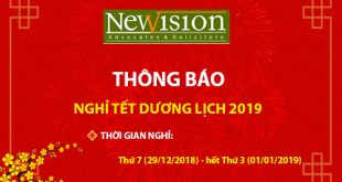 Thông báo lịch nghỉ Tết dương lịch năm 2019 - Hãng Luật NewvisionLaw